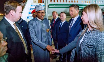 Just In: President Buhari Arrives Russia (Photos)