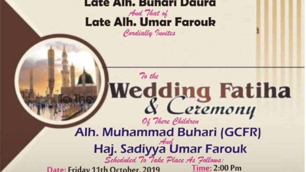 Buhari wedding card - Long Read: Will President Buhari Marry Sadiya Umar Farouk?
