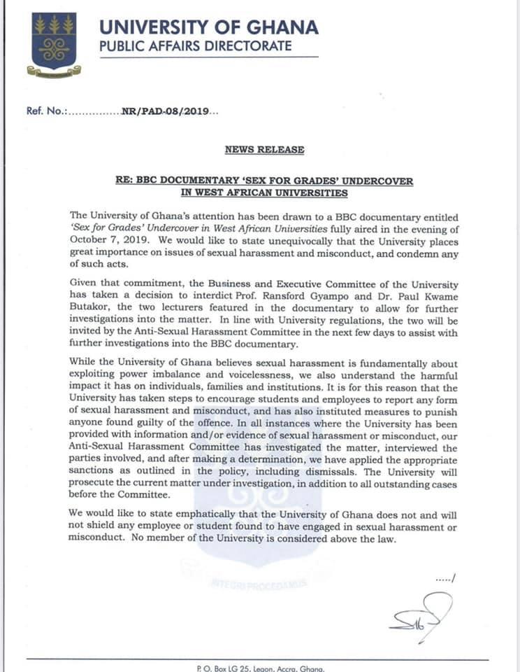 Ghana University sex for grades