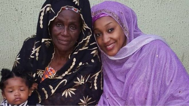 Hajia Rakiya Adam mother of President Muhammadu Buhari and Nana Hadiza Muhammadu Buhari and her baby - Safinatu Buhari: Meet President Buhari's First Wife, Her Children and Grandchildren