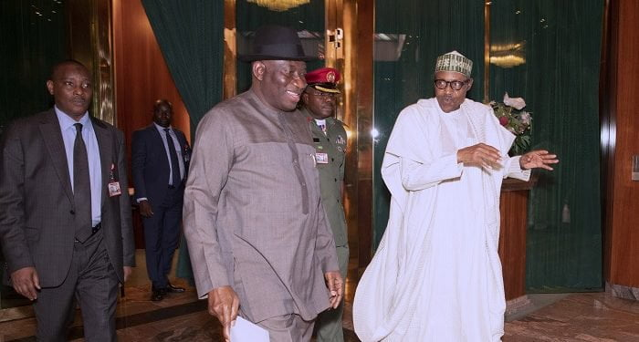PRESIDENT BUHARI RECEIVES FMR PRESIDENT JONATHAN 4A 1 700x375 - Picture Story: Buhari, Jonathan In Closed-Door Meeting At Aso Rock