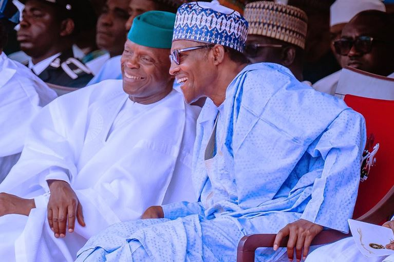President Muhammadu Buhari and Vice President Yemi Osinbajo during the 59th Independence Day celebration in Abuja on 1 October - Nigeria @59: Independence Day Celebration Holds Inside Aso Rock Villa (Photos)