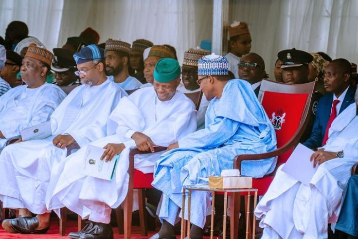 President Muhammadu Buhari and Vice President Yemi Osinbajo during the 59th Independence Day celebration in Abuja on 1 October1 - Nigeria @59: Independence Day Celebration Holds Inside Aso Rock Villa (Photos)