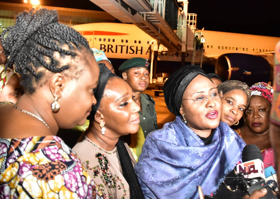 pic2 - Breaking News: Aisha Buhari Arrives Nigeria