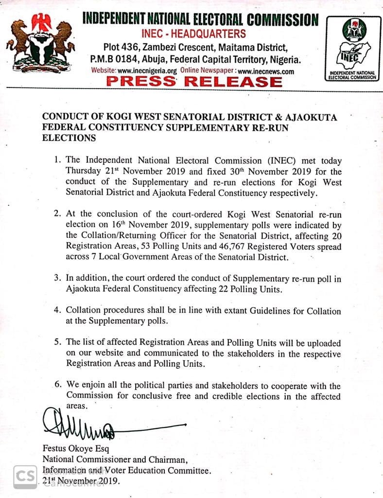Just In: INEC Fixes Date For Kogi West Supplementary Re-run Election