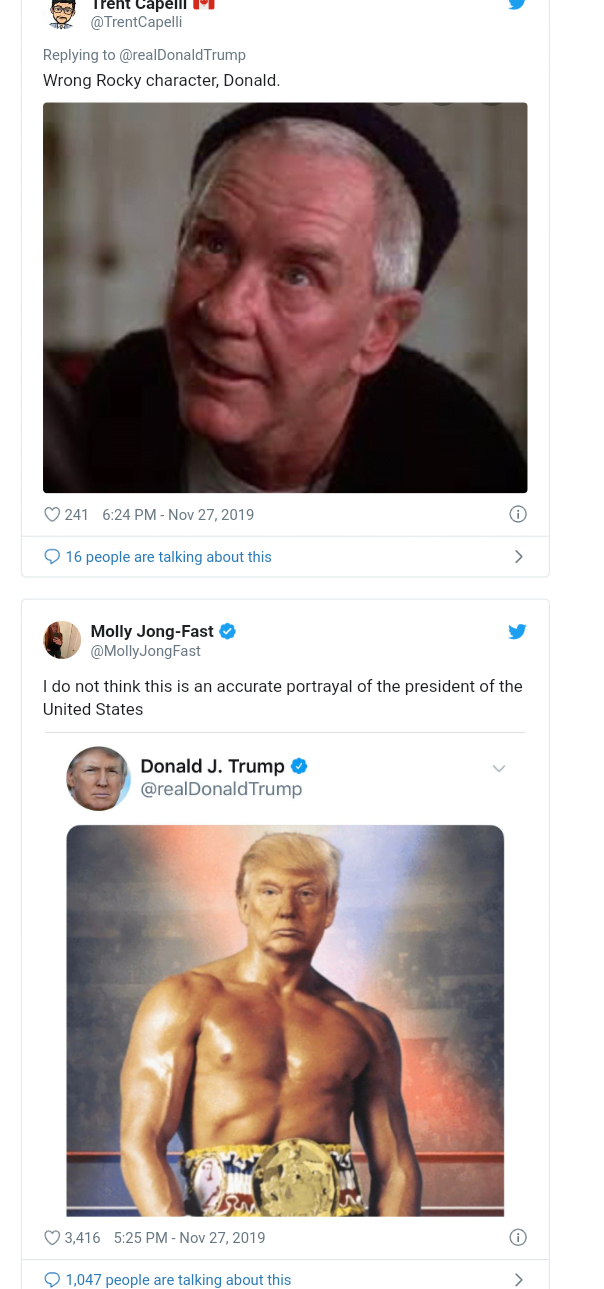 5ddfa2bf8773d - Funny Comments Trail Trump's Posts Of His 'Photoshop' Face On Rocky Balbao Body