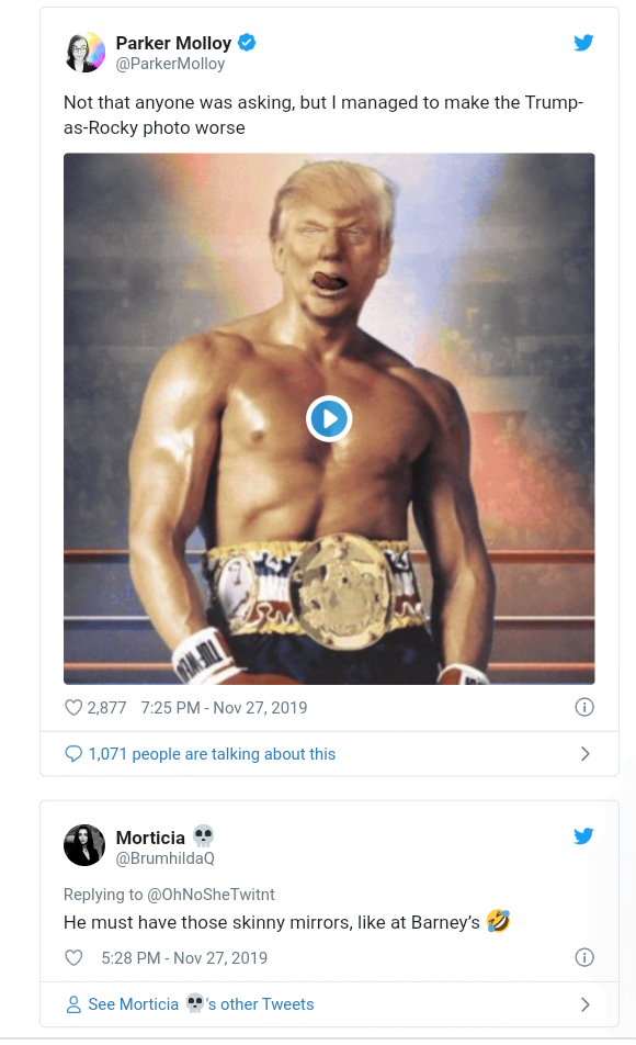 5ddfa2db78528 - Funny Comments Trail Trump's Posts Of His 'Photoshop' Face On Rocky Balbao Body