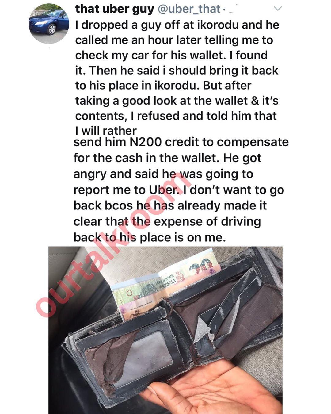75208774 166500734546051 7787343940049146568 n - Uber Driver Narrates Shocking Reason He Has Refused To Return Passenger's Forgotten Wallet