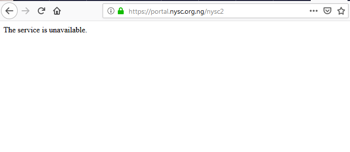 NYSC portal crashes - Just In: NYSC Portal Crashes After Release Of Call-Up Letters