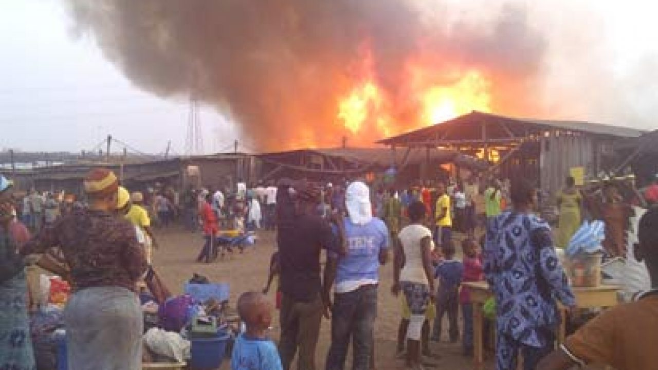 Fire Guts Storey Building In Lagos