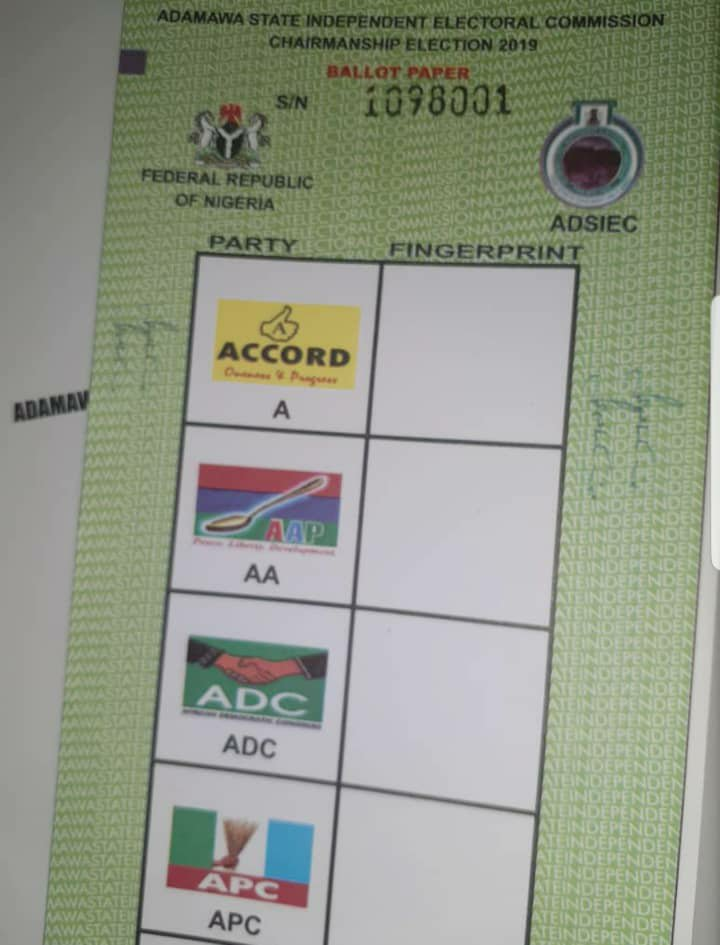 Ballot paper - Adamawa LGs Polls: Election Didn't Hold in Song, Hong, 4 Other LGAs – APC Alleges