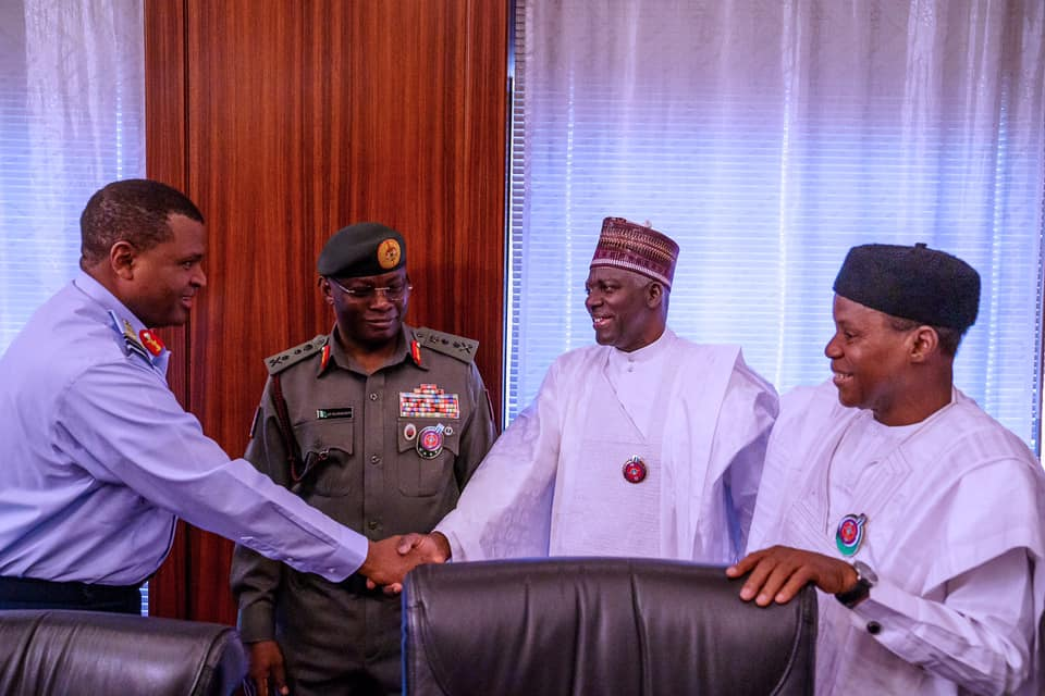 Security chiefs4 - Buratai Absent As Buhari Meets Service Chiefs