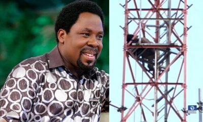 Man Climbs Mast, Threatens Suicide Over Prophet TB Joshua (Photos)