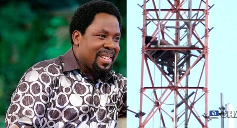 Man Climbs Mast, Threatens Suicide Over Prophet TB Joshua (Photos)