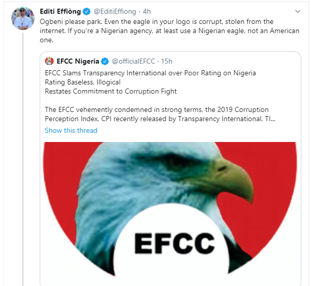5e2ae33873d05 - Nigerians Mock EFCC Over 'Stolen' Eagle On Its Logo