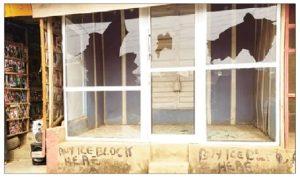 A vandalised shop 300x177 - Lagos: Hoodlums Attack Community, Destroy 100 Shops
