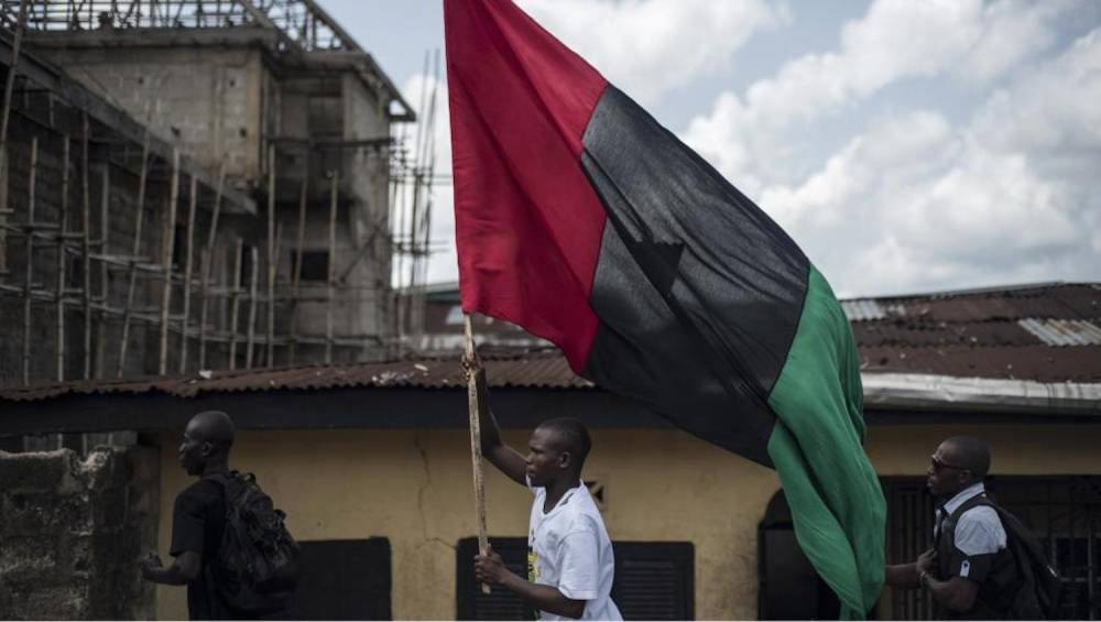 Activists of the Ipob and the Biafran flag on May 28 2017 in Aba. - Nigeria: The Biafra War 50 Years Ago