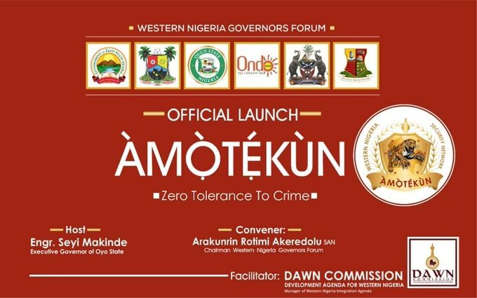 Amotekun 5 - Sanwo-Olu, Oyetola Absent As Operation 'Amotekun' Was Launched In Ibadan