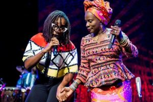 Angelique and Asa on Stage 300x200 - Grammy Winner, Angelique Kidjo Meets Asa In Lagos At Smooth FM