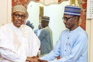 Buhari and Mele Kyari 300x200 - Only Buhari Has Never Asked NNPC To 'Do Something' – Mele Kyari