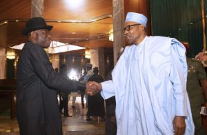 PRESIDENT BUHARI RECEIVES FMR PRESIDENT JONATHAN 1 scaled e1580393816190 300x196 - Just In: Buhari, Jonathan Meet Behind Closed Door In Aso Rock