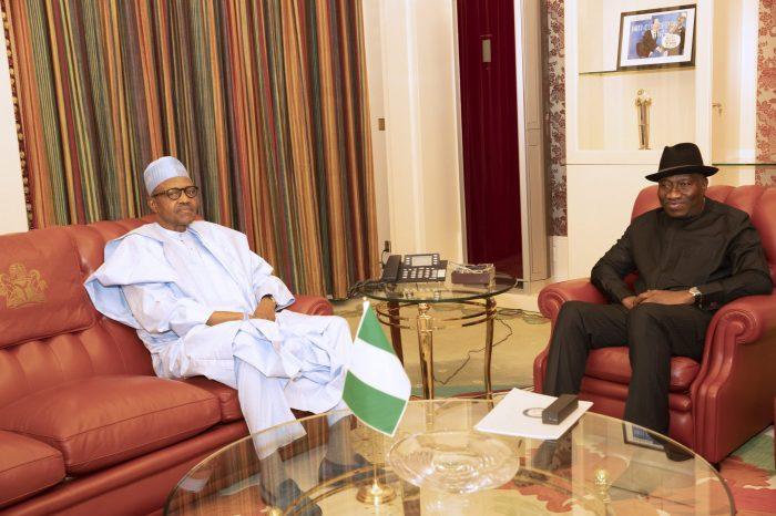PRESIDENT BUHARI RECEIVES FMR PRESIDENT JONATHAN 4 scaled e1580393676218 - Just In: Buhari, Jonathan Meet Behind Closed Door In Aso Rock
