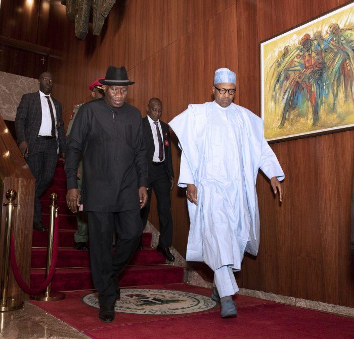 PRESIDENT BUHARI RECEIVES FMR PRESIDENT JONATHAN 5B scaled e1580394009796 - Just In: Buhari, Jonathan Meet Behind Closed Door In Aso Rock