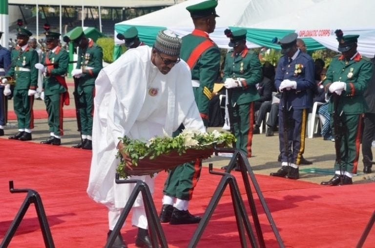 Soldier2 - Armed Forces Remembrance Day: President Buhari Lays Wreath To Celebrate Fallen Heroes (Pictures & Video)