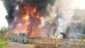 fire 300x169 - Ondo: Fire Destroys Abandoned Multi-Million Naira Power Plant