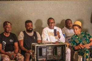 otedola movie 300x200 - Otedola, Wife Takes Support To Another Level, Visit Temi On Movie Set