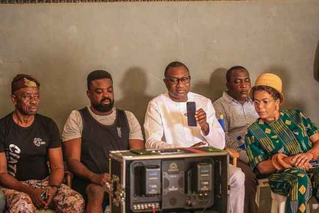 Femi Otedola and Family on Movie Set