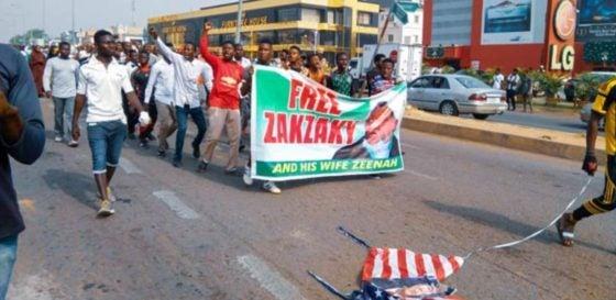 soleimani shiites protest in abuja burn us flag photos 2 - US Vs Iran: Shiites Protest Angrily, Burn US Flag In Abuja