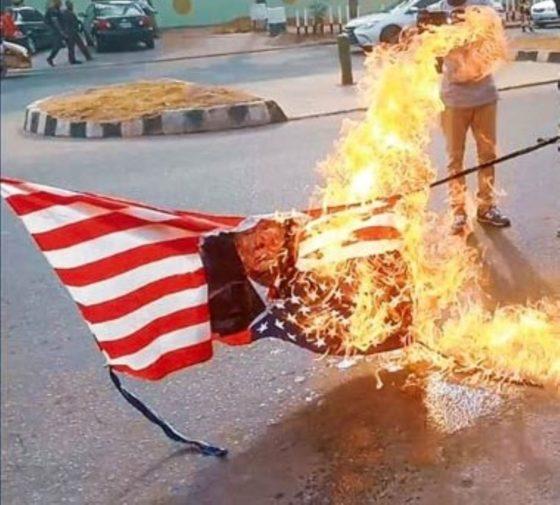 soleimani shiites protest in abuja burn us flag photos 3 - US Vs Iran: Shiites Protest Angrily, Burn US Flag In Abuja