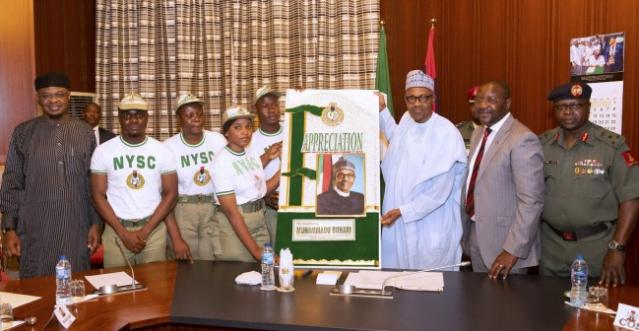 Corp 2 - NYSC Members Visit Buhari, Thank Him For Increasing Pay To 33k