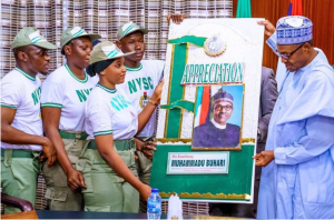 Corp 300x198 - NYSC Members Visit Buhari, Thank Him For Increasing Pay To 33k