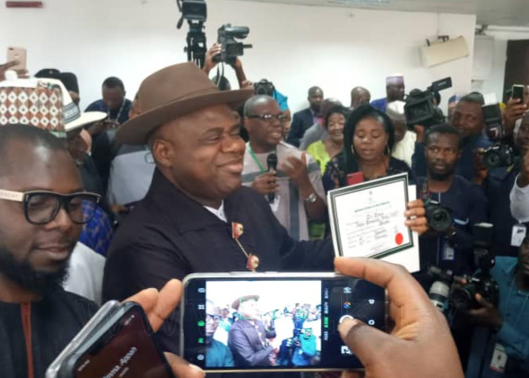 Bayelsa: INEC Presents Certificate Of Return To Sen. Diri and Sen. Lawrence