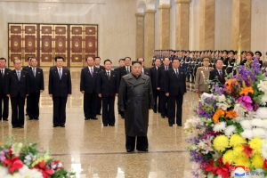 Kim Jong un visited the Kumsusan Sun Palace which houses the embalmed remains of his father Kim Jong il on Sunday in Pyongyang. 300x200 - Kim Jong-un's First Public Appearance In Three Weeks