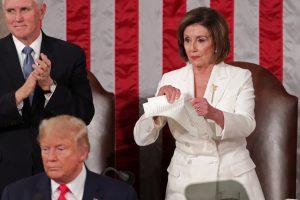 Nancy Pelosi tears up her copy of Donald Trumps speech. 300x200 - Democratic Leader Nancy Pelosi Tears Up Donald Trump's Speech