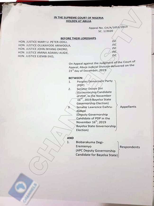 Supreme court judgment on Lyon sack 1 - David Lyon's Sack: See Official Summary Of Supreme Court Ruling On Bayelsa Election (Photos)