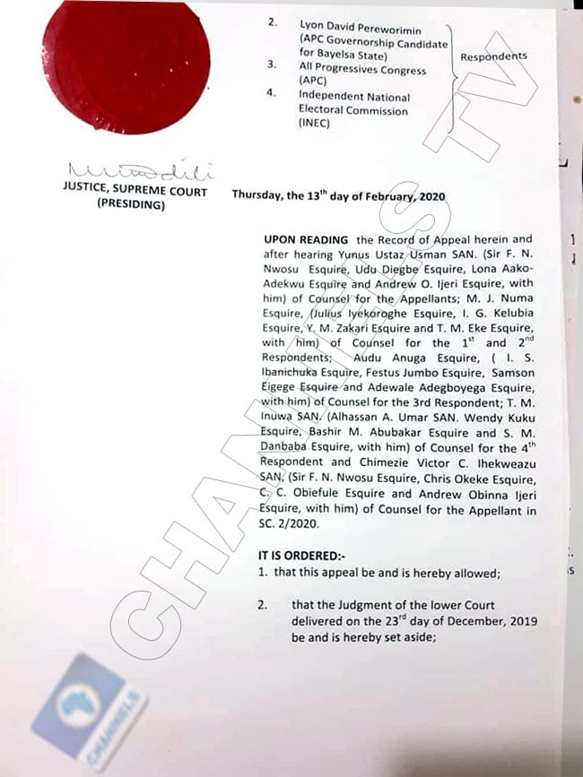 Supreme court judgment on Lyon sack 2 - David Lyon's Sack: See Official Summary Of Supreme Court Ruling On Bayelsa Election (Photos)