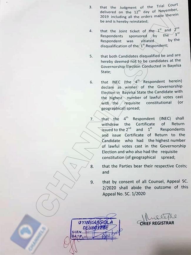 Supreme court judgment on Lyon sack 3 - David Lyon's Sack: See Official Summary Of Supreme Court Ruling On Bayelsa Election (Photos)