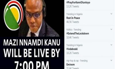 #PrayForKemiOlunloyo Tops Nigeria Twitter Trends Ahead Of Nnamdi Kanu's Video Broadcast Today