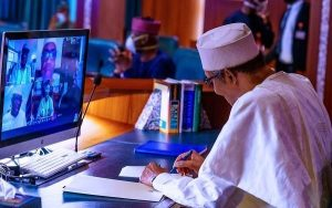 Buhari virtual meeting with governors 300x188 - What 36 State Governors, Buhari Discussed At Crucial Security Meeting