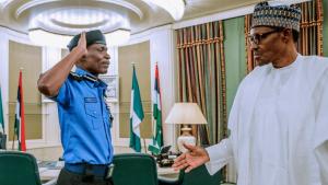 IGP Mohammed Adamu and President Muhammadu Buhari 1 300x169 - Appoint New IGP – PDP Govs To Buhari