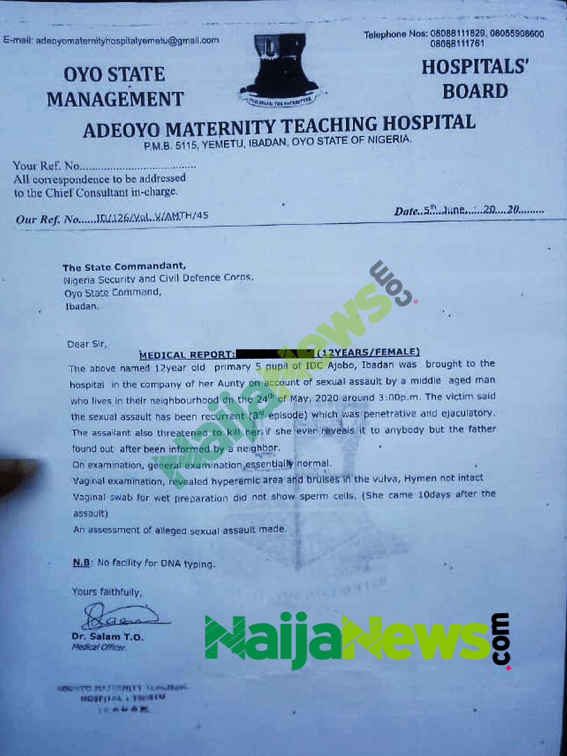 Appendix 2: The medical report from Adeoyo Maternity Teaching Hospital