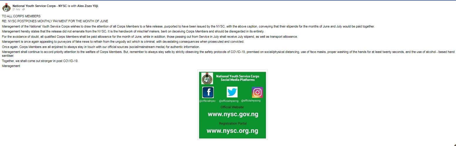 NYSC Breaks Silence On Postponing June Allowance