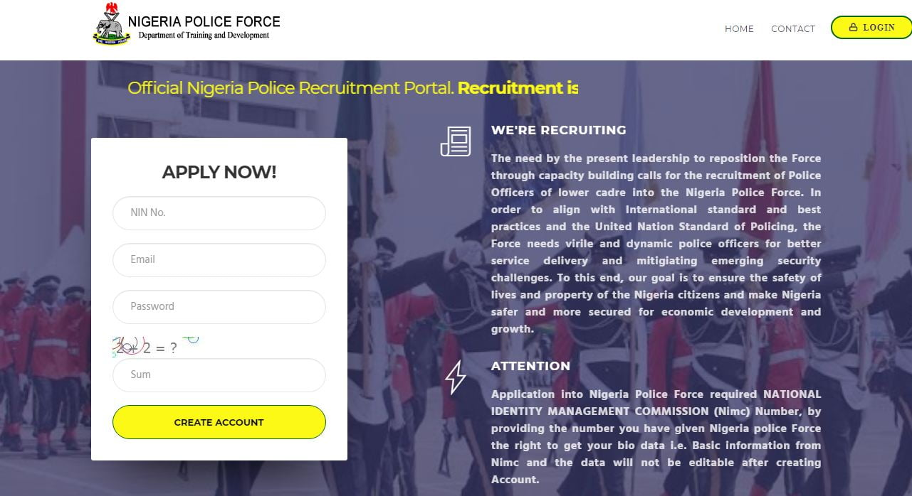 Nigeria Police Portal Now Working, Apply For Constables Recruitment Here