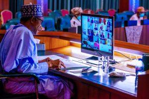 Buhari virtual 300x200 - President Buhari Attends ECOWAS Summit On Mali