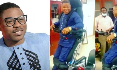 At Last, Gospel Singer, Yinka Ayefele Stands On His Feet (Video)