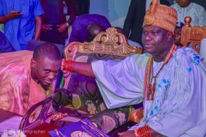 Ooni of Ife His Imperial Majesty H.I.M Adeyeye Enitan Ogunwusi Ojaja II acknowledges greetings from Bello Bala Shagari 300x200 - Ooni Of Ife Appoints Shagari's Grandson, Bala Shagari